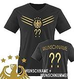 Comedy Shirts - WM 2014 - DEUTSCHLAND - DELUXE F1-VH-Wunsch - Herren V-Neck T-Shirt - Schwarz/Gold Gr. XXL