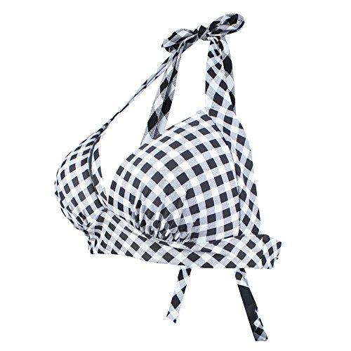 iBaste, Top Bikini Donna, Top in Bikini da Cucire Lattice Costume da Bagno per Nuoto Grigio