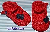 Patucos Merceditas para bebé de crochet, de color Rojo y azul marino, 100% algodón, tallas de 0 hasta 12 meses, hechos a mano en España. Regalo para bebé.