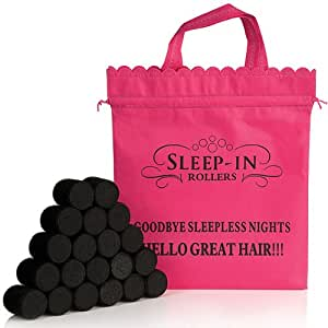 Sleep-In Rollers Hair Styling Rollers with Drawstring Bag Pack of 20 Black