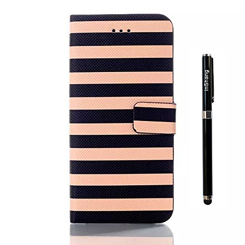 "inShang iPhone 6 Plus Coque iPhone 6+ 5.5"" Housse de Protection Etui pour Apple iPhone6 plus iPhone6+ 5.5 Inch, Cuir PU de premiere qualite, + inShang Logo Qualite Pens Haute Stylet capacitif B stripe brown"