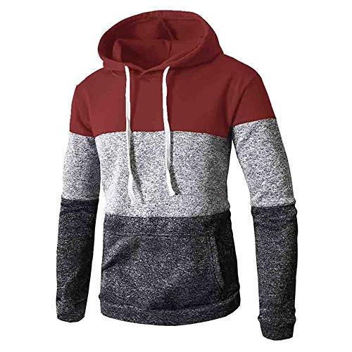 Aiserkly Herren Patchwork Winter Kapuzen-Sweatshirt Langarm Slim Pocket Fit Hoodies Bluse Tops Unterhemd Kapuzenpullover Thermische Pullover Pulli Outwear Sweater Rot 3XL