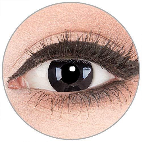 Farbige Kontaktlinsen zu Fasching Karneval Halloween in Topqualität von 'Glamlens' ohne Stärke 1 Paar Crazy Fun schwarze 'Black Out' mit Behälter