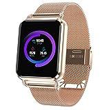 Love Life Fitness-Smartuhr, Wasserdichter Aktivitäts-Tracker mit Schrittzähler Kalorien- und Herzfrequenz-Schlafmonitor, Kompatibel mit iPhone und Android-Handys,Gold