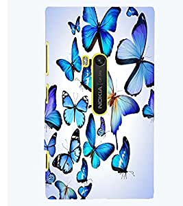 Printvisa Blue Butterfly Pattern Back Case Cover for Nokia Lumia 920::Microsoft Lumia 920