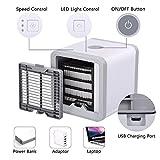 Mobiles Klimageräte Mini Tragbare Klimaanlage Luftkühler Air Cooler, 3 in 1 Klimaanlage Ventilator, Luftbefeuchter und Luftreiniger [USB Anschluß, Einstellbare 7 Stimmungslichter, 3 Windgeschwindigkeit] - 4