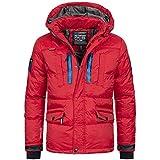 Geographical Norway Herren Jacke Winterjacke Parka warm gefüttert Ski  Outdoor Kapuze Basilboli S-XXXL 4-Farben, Größe L, Farbe Rot 75b19c2feb