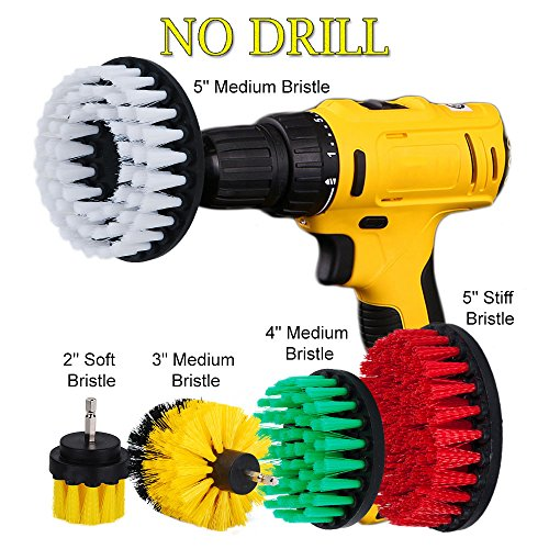 OxoxO 2 3 4 5inch Drill Brush - Soft Medium Stiff Attachment Scrub Cleaning Kit for Pool Tile Flooring Brick Ceramic Marble Grout Showers Tubs Bathrooms -