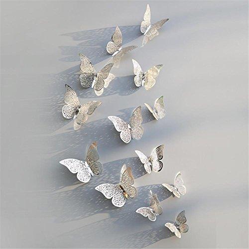 Blue Vessel 12 PCS Höhle Schmetterling Form Spiegel Dekoration Wand Aufkleber Vinyl Dekor Spiegel Wandtattoo Butterfly Mirror Wall Decals (D) (Vinyl-wand-aufkleber)