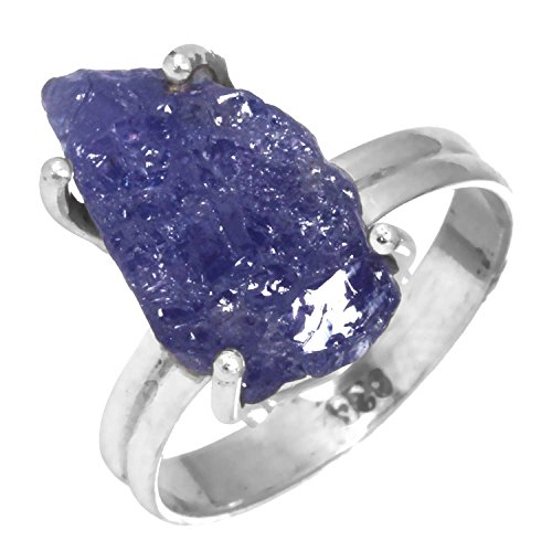 Solid 925 Sterling Silver Ring Natural Tanzanite Rough Gemstone Handcrafted Jewelry Size 15