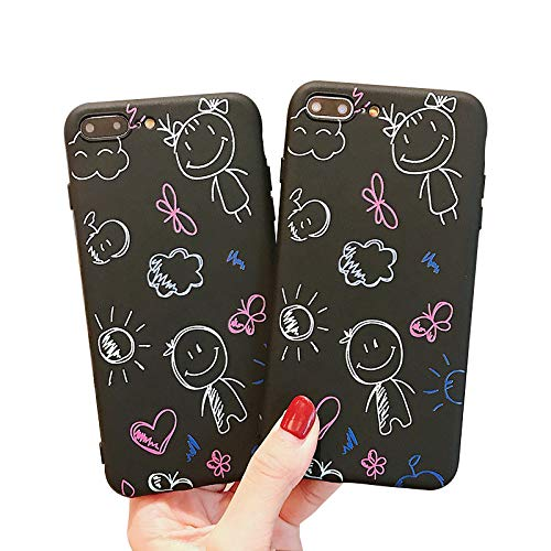 dianzhi iPhone XS Max Hüllen, Iphone XR Hülle, Frosted Design Hülle mit lustigen handgemalten Cartoon Doodle Anti-Kratz-Anti-Finger Slim Flexible Hard Cover Hülle für Iphone 7plus / Iphone 8 plus -