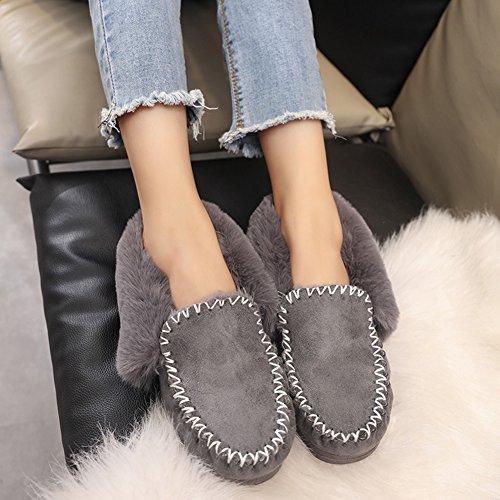 Fortuning's JDS Femmes Fille de l'hiver simple coiffer épissure de la fourrure Chaîne chaussures plates Épais chaussures de haricots Bottes de neige Gris