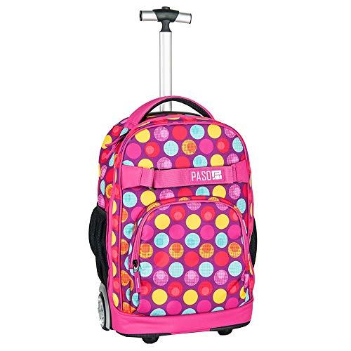Paso grande zaino trolley pink sport pois femmina ragazza scuola media, elementare