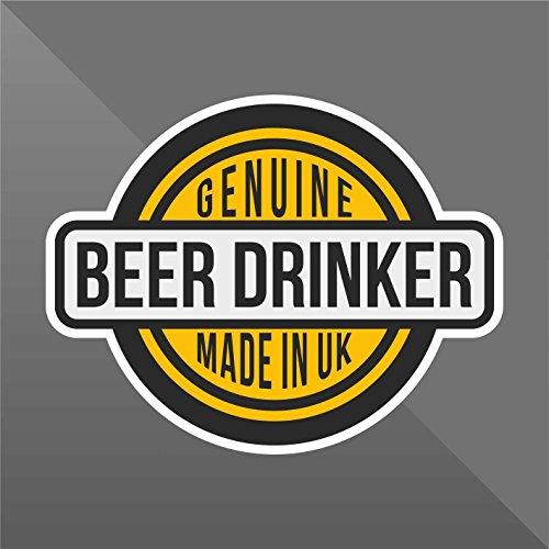 Sticker Genuine Beer Drinker Funny Divertente komisch amusant divertido - Decal Cars Motorcycles Helmet Wall Camper Bike Adesivo Adhesive Autocollant Pegatina Aufkleber - cm 32