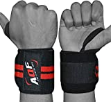 AQF Power Weight Lifting Wrist Wraps Supports Gym Training Fist Straps Black - Sold as Pair & One Size Fits All