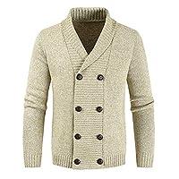 Stickad cardigan för män tjock tröja dubbel rad knappar stängning jumper höst vinter överrock