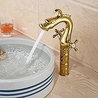 tougmoo a forma di drago lavabo rubinetto per bagno di singolo foro doppio manico Deck Mount, White, Chrome