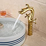 tougmoo Dragon en forme de bassin évier robinet pour salle de bain Plaqué Or seul trou poignée double Deck Support, blanc, Chrome