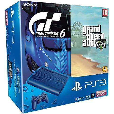 Console Ps3 500 Go Bleue + Gran Turismo 6 + Gta V [Importación Francesa]