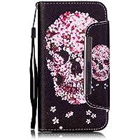 Flip Cover per Samsung Galaxy S6 Edge G9250, Moonmini® PU Pelle Custodia Wallet a Portafoglio Libro con Stand, Slot, Chiusura Magnetica & Cordone - Pink Skull Flower in Black - Pulsante Politico Vintage