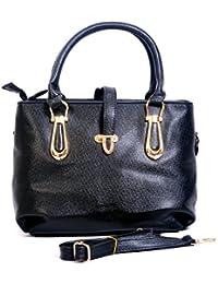 Bagris New Rich Black Design PU Leather Hand Messenger Bag For Women & Girls GE01001337