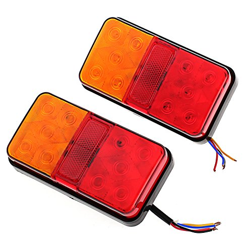 Justech 2 X Luces de Freno Traseras Luces Traseras 12V Universal para Trailer Camper Van Truck Lorry Tractor