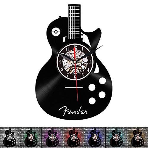 Chitarra musicale orologio da parete in vinile da record 12 pollici (30 cm)-applique 7 led colori chiari,orologio in vinile per strumenti a fumetti, il contro remoto,silenzioso,regalo per musicista ++