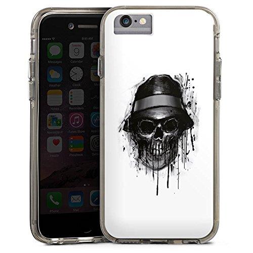 Apple iPhone 6s Bumper Hülle Bumper Case Glitzer Hülle Totenkopf Hut Skull Bumper Case transparent grau