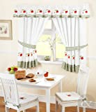 Kitchen Curtains Red Green Ready Made Embroidered Net Curtain Set