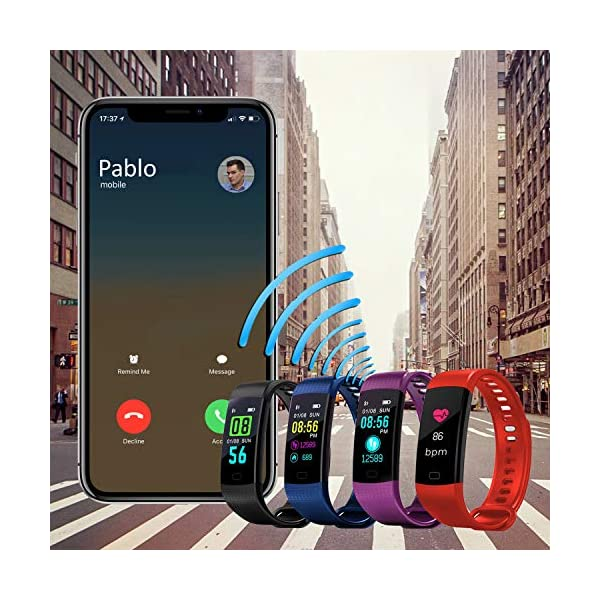 Pulsera de Actividad Inteligente FitBand cRadia con pantalla táctil, pulsómetro láser, monitor de Frecuencia Cardíaca HR, Podómetro, resistente al agua con protección IP67, contador de pasos y monitor de Sueño para Android y iPhone 4