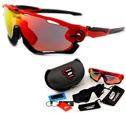 Queshark Fahrradbrille Sport Sonnenbrille für Herren und Damen Polarisierte, Sportbrille mit 3 Wechselobjektiven und Frauen Radsports - 5