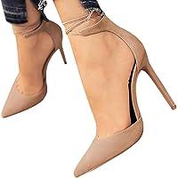 Minetom Damen Stiletto High Heels Pumps Spitz Party Basic Schuhe Geschlossen Schnürsenkel Wildleder Sandalen Abendschuhe