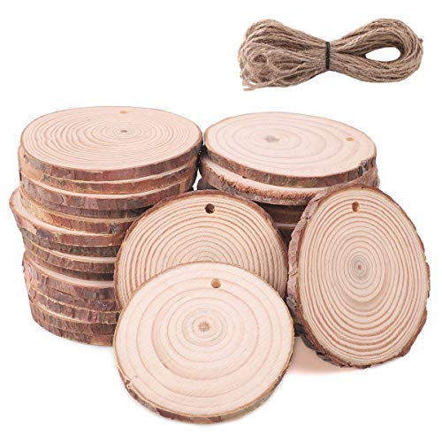 SanGlory 30 Stücke Holzscheiben 6-7cm Holz Log Scheiben und 10m Jute Seil Holz-Scheiben DIY Handwerk Deko-Holz Baumscheibe für Hochzeit Mittelstücke Weihnachten Dekoration (Holz Hochzeit Mittelstücke)