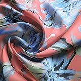 Coral Pfirsich und Pastell-Blau Floral Printed Satin Stoff,