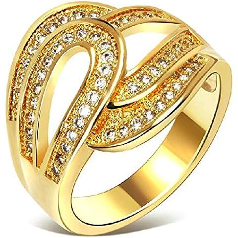 Anelli Di Fidanzamento Donna Placcato Oro Oro Fiore Vuoto Cut Strass Inlay Da (14k Diamante Tiffany Anello Setting)