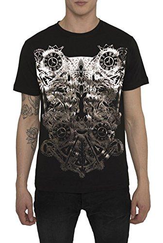 Camisetas de Algodón para Hombre, T Shirt Vintage Rock, Camiseta Negra Blanca con Diseños - WARFARE Top Cool Fashion Metal Gold Design, Cuello redondo, Manga corta Ropa Moda Moderna, S M L XL