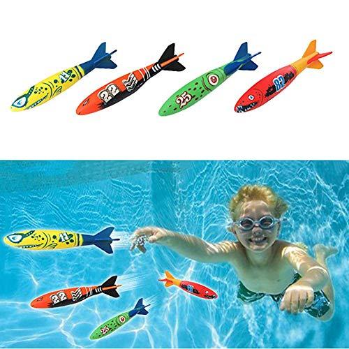 Fliyeong Interessantes Spielzeug Torpedo 4 Stücke Kinder Lustige Schwimmbad Tauchen Torpedo Outdoor Werfen Wasser Spielen Spielzeug Spielzeug Für Alle Altersgruppen Langlebig und Nützlich (Spiele Für Alle Altersgruppen)