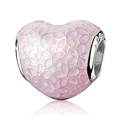 ATHENAIE 925 Sterling Silver Glittering Heart Soumette rose émaillée Flower Charm Beads Couleur Bright Pink