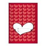 Kartenkaufrausch 4 Schöne Herz DIN A5 Schulhefte, Schreibhefte auf Herzen auf rot Lineatur 6 (blanko Heft)