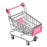 Ruiting 1 stück Mini Warenkorb Supermarkt Handkarren Shopping Utility Cart Mode Lagerung Spielzeug Halloween Weihnacht Geschenk(Rose Red)