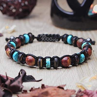 Taille 19-20cm Bracelet Style Shambala homme/men's perles 8mm pierre Jaspe Picasso Turquoise stabilisé Bois Coco/Cocotier Hématite Made in France BRAPIKA17