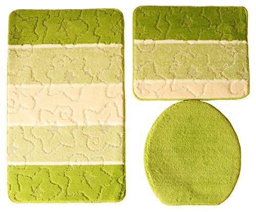 Orion Badgarnitur 3 tlg. Set 50x80 cm kiwi grün beige WC Vorleger ohne Ausschnitt für Hänge-WC
