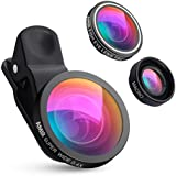 AMIR 3 in 1 Cell Phone Lens, 180° Fisheye Lens + 4X Macro Lens + 0.4X Wide Angle Lens, Professional HD Camera Lens Kits, Clip on Smartphone Lens, for iPhone 7/ 7 Plus/ 6/ 6s Plus/ SE, LG, HTC, Huawei, Samsung and Other Smartphone