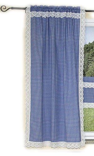tischdecken-iris-shop GARDINEN Hossner Gardine 90 x 150 cm Seitenschal Schal Übergardine Landhaus BLAU Weiß Kariert Handarbeit Spitze (Seitenschal 90x150 cm)