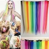 Rosa Pink Haarsträhne Clip Verschluss 45 cm Länge Kunsthaar Einfach, schnell, sicher und haltbar