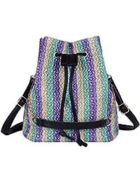 Luckycat Bolsas de mano para mujer para verano viaje bolso de hombro bolso de paja bolso