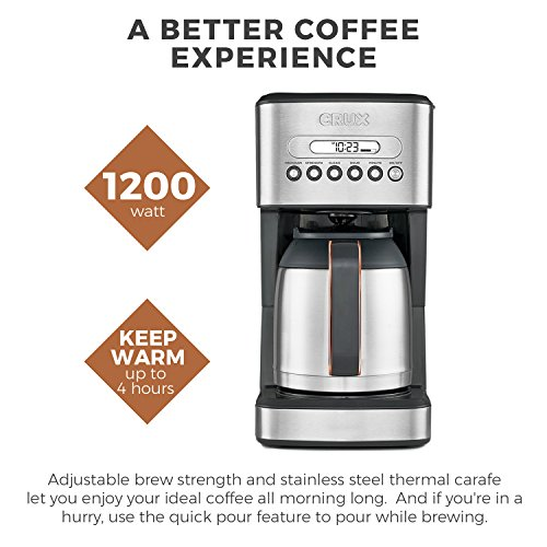 51zt2uaz3LL. SS500  - CRUX Instant Ground Electric Hot Coffee Maker Machine Kit - Pre-Programmable Settings - 10 Cups, Self Cleaning - Auto…