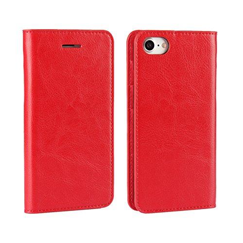 AddGuan iPhone 6/6S Plus Case,Vera Pelle Case [Slot Per Schede][Creative Foldable Stand ]Flip Custodia Case Adatto Per iPhone 6/6S Plus Case(Marrone) Rosso