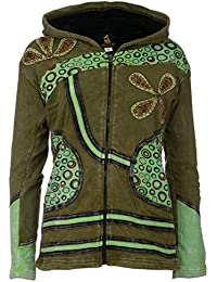a4c5a5756e32 Patchwork-Strickjacke   Hippie-Style   Modell Flower Power   Fleecefutter    Warm   Kuschelig   Damen   Goa-Jacket  …