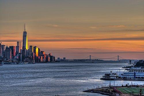 F. M. Kearney/Design Pics - Sunset Over Lower Manhattan and The Verrazano-Narrows Bridge; Weehawken New Jersey United States of America Photo Print (48,26 x 30,48 cm) -